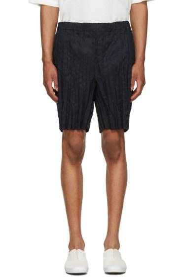 Issey Miyake Men - Navy Wrinkled Linen Shorts