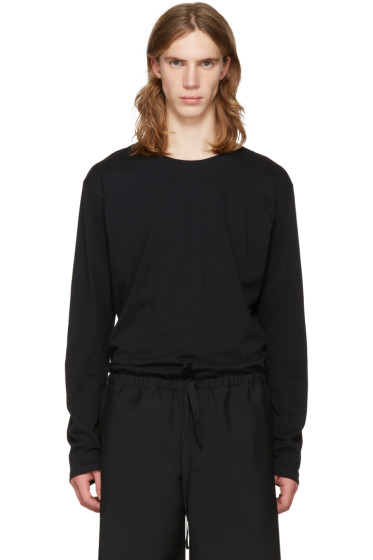 Issey Miyake Men - Black Cotton Long Sleeve T-Shirt