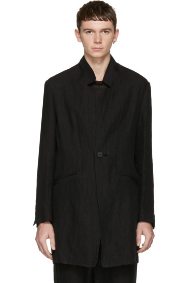 Isabel Benenato - Black Linen Coat