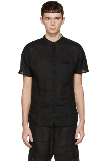 Isabel Benenato - Black Linen Shirt