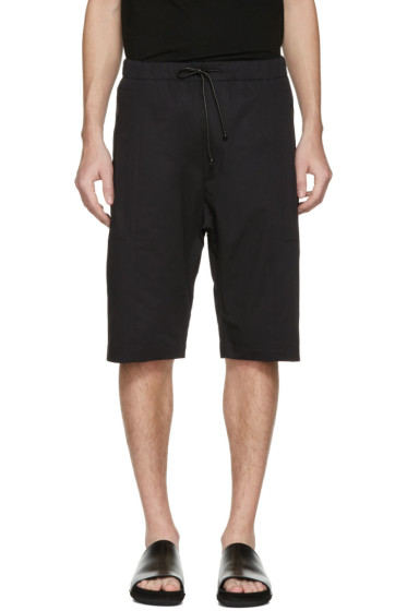 Isabel Benenato - Black Cotton Zip Shorts