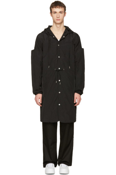 Telfar - Black Nylon Hooded Coat