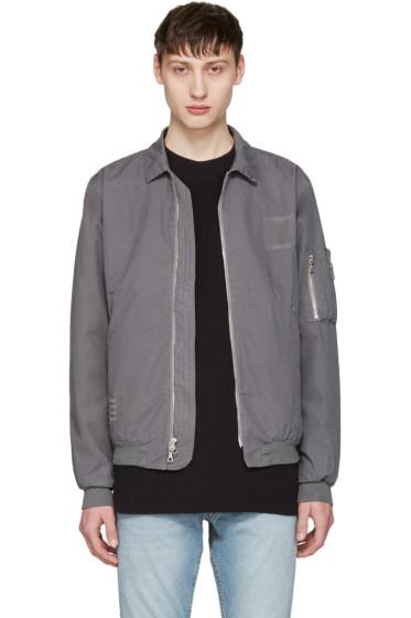 John Elliott - Grey Embroidered Flight Jacket