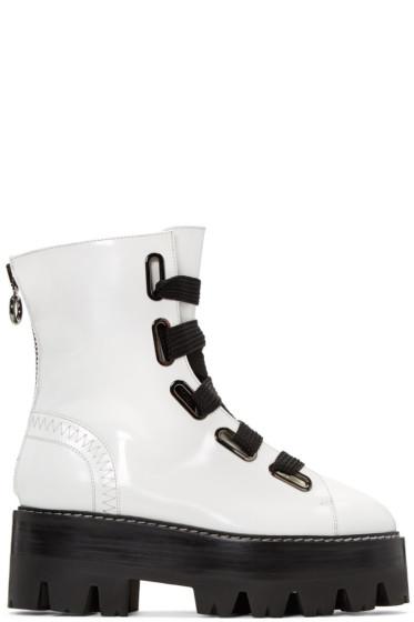 Ellery - White Sunny Platform Combat Boots