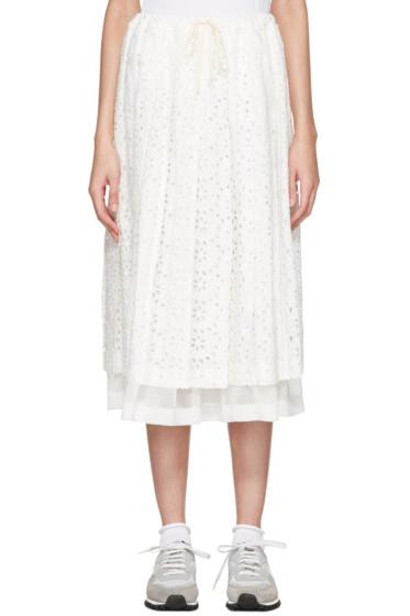 Tricot Comme des Garçons - White Eyelet Lace Skirt
