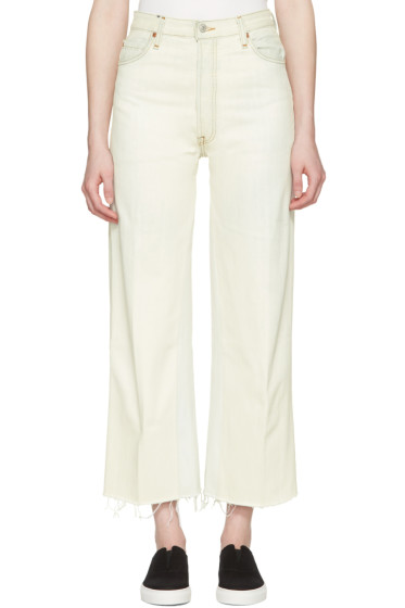 Re/Done - White High-Rise Wide-Leg Crop Jeans