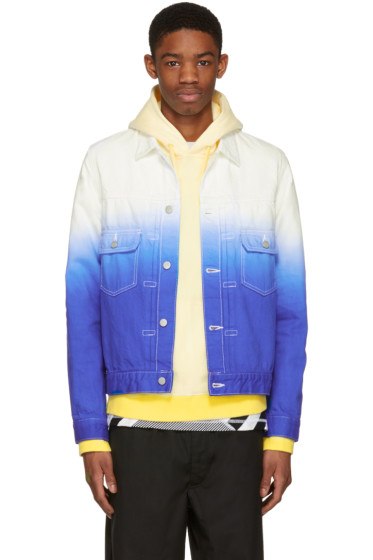 Ganryu - White & Blue Denim Tie-Dye Degradé Jacket