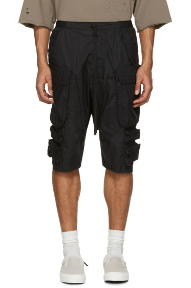 Unravel - Black Tech Cargo Shorts