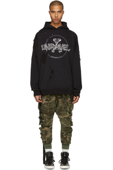 Unravel - Black Distressed Bones Hoodie