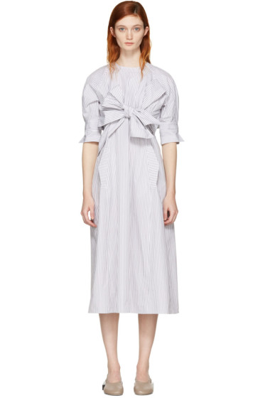 Cyclas - Grey Striped Front Bow Dress