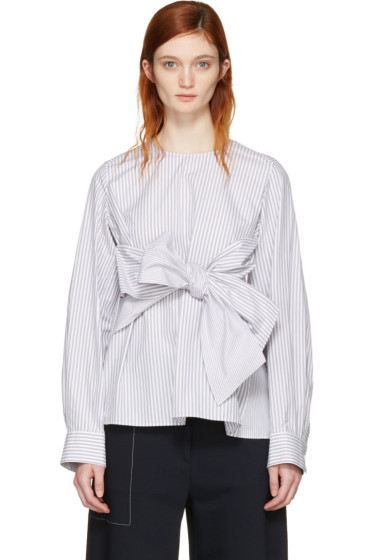 Cyclas - Grey Striped Front Bow Blouse