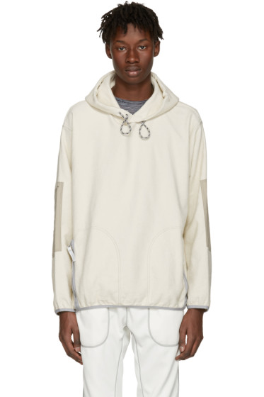 and Wander - Off-White Pile Denim Hoodie