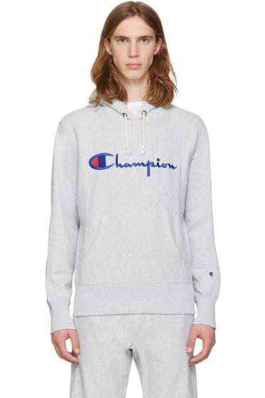Champion Reverse Weave - グレー ロゴ フーディ