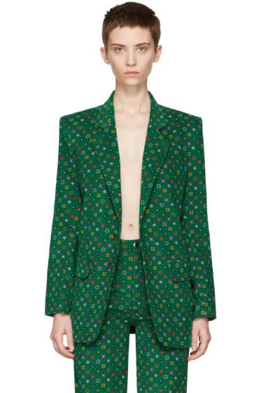 Eckhaus Latta - Green Printed Corduroy Blazer