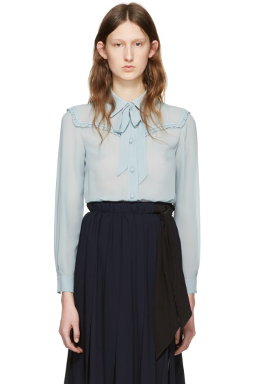 Miu Miu - Blue Silk Ruffle Shirt