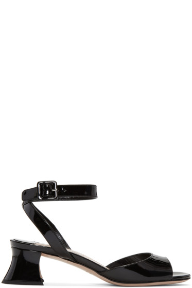 Miu Miu - Black Patent Leather Heeled Sandals
