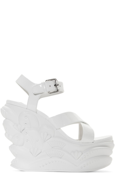 Miu Miu - White Wave Wedge Sandals