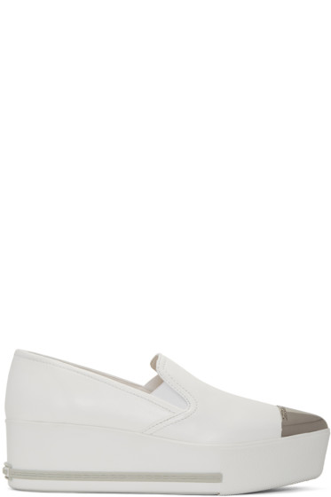 Miu Miu - White Platform Slip-On Sneakers