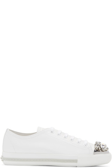 Miu Miu - Off-White Crystal Toe Sneakers