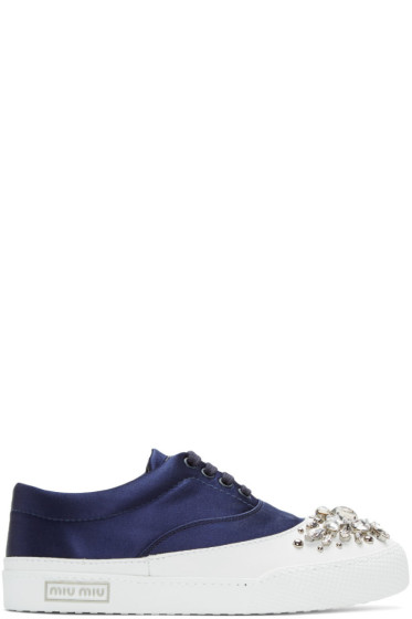 Miu Miu - SSENSE Exclusive Navy Satin & Crystal Sneakers