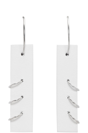 Ribeyron - White Medium Pierced Earrings