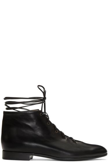 Alumnae - Black Garconne Lace-Up Boots