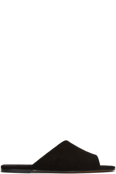 Alumnae - Black Asymmetric Suede Sandals
