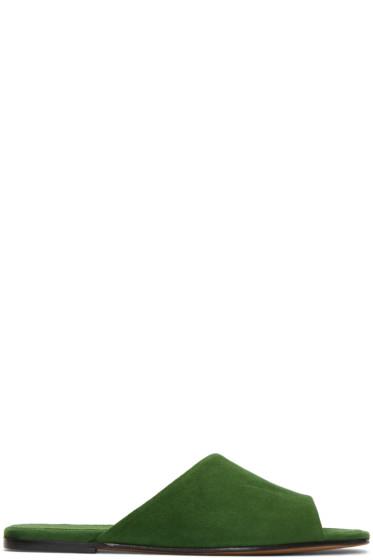 Alumnae - Green Asymmetric Suede Sandals