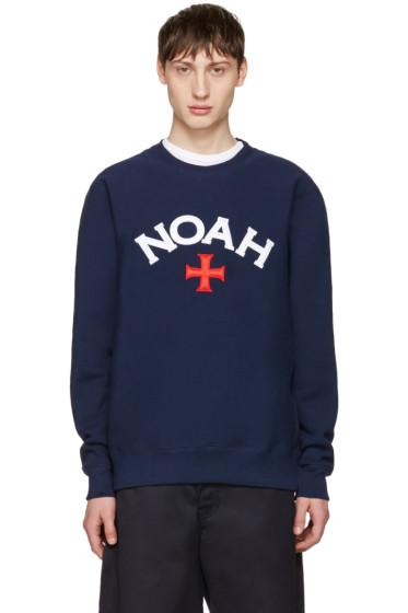 Noah NYC - Navy Varsity Logo Sweatshirt