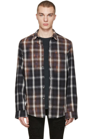 Amiri - Black Spray Plaid Shirt