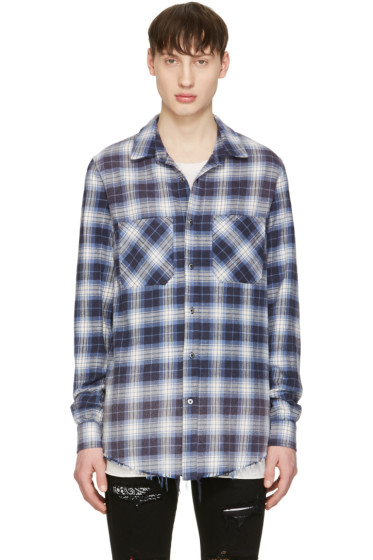 Amiri - Blue Plaid Grunge Shirt
