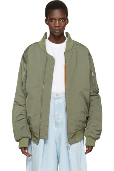 Martine Rose - Green Oversized Collapsed Bomber Jacket