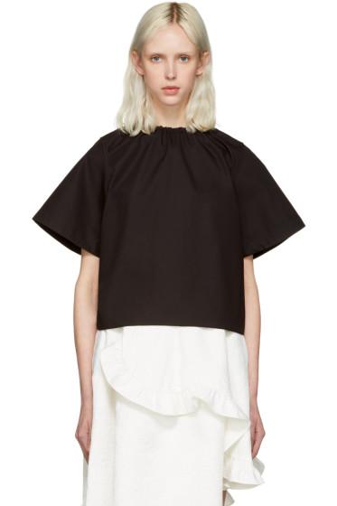 Shushu/Tong - Black Elastic Neckline Blouse