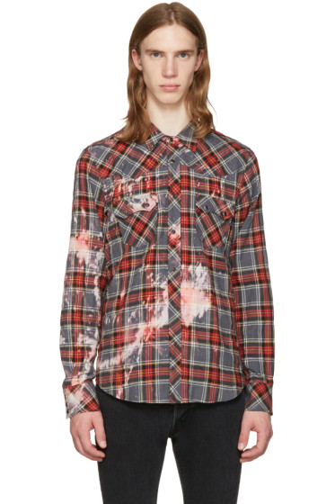 Herman - Grey Bleached Plaid Western Shirt