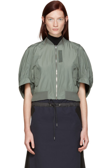 Kuho - Green Cropped Bomber Jacket