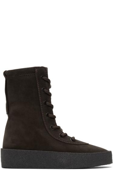 YEEZY - Black Suede Crepe Boots