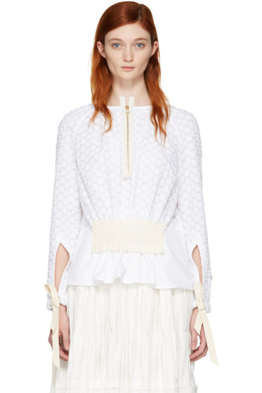 Ovelia Transtoto - White Embroidered Zip Blouse