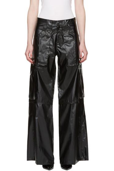 MISBHV - Black Faux-Leather Cargo Pants