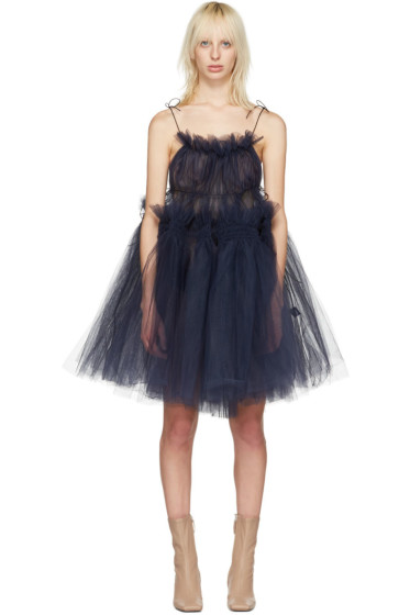 Molly Goddard - Robe en tulle bleu marine Oksana Strappy