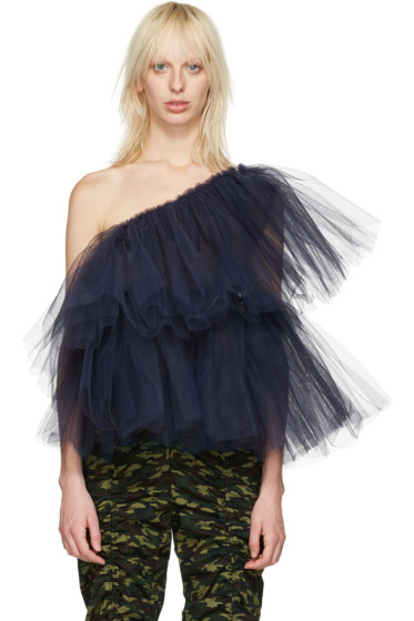 Molly Goddard - Navy Tulle One-Shoulder Angela Top