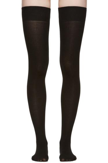 Marieyat - Black Doodle Thigh-High Socks