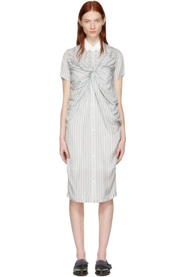Chika Kisada - オフホワイト ストライプ ツイスト ドレス