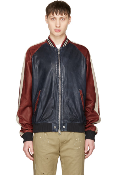 Diesel - Red & Navy Leather L-Truly Bomber Jacket