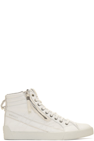 Diesel - Off-White D-String Plus High-Top Sneakers