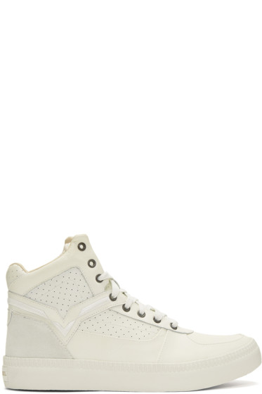 Diesel - Off-White S-Spaark Mid-Top Sneakers