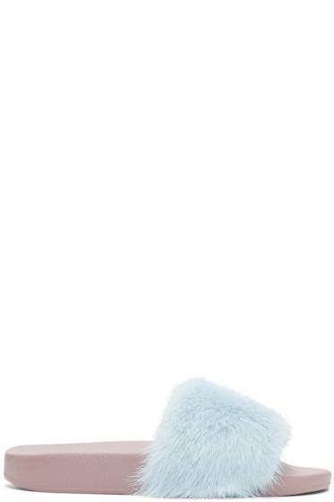 Dolce & Gabbana - Blue Fur Slides