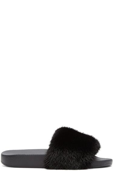 Dolce & Gabbana - Black Fur Slides