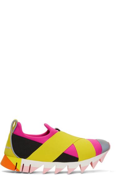 Dolce & Gabbana - Pink & Yellow Ibiza Slip-On Sneakers