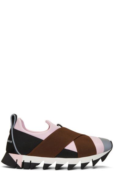 Dolce & Gabbana - Pink & Black Ibiza Slip-On Sneakers