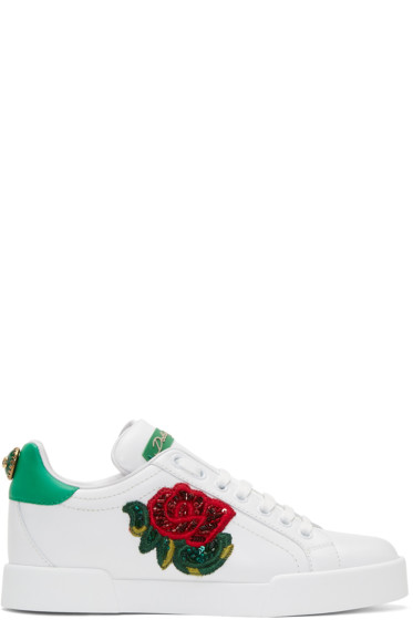 Dolce & Gabbana - White Embroidered Floral Sneakers